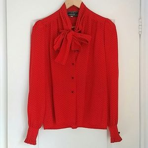 VINTAGE - silk heart bow puff sleeve blouse